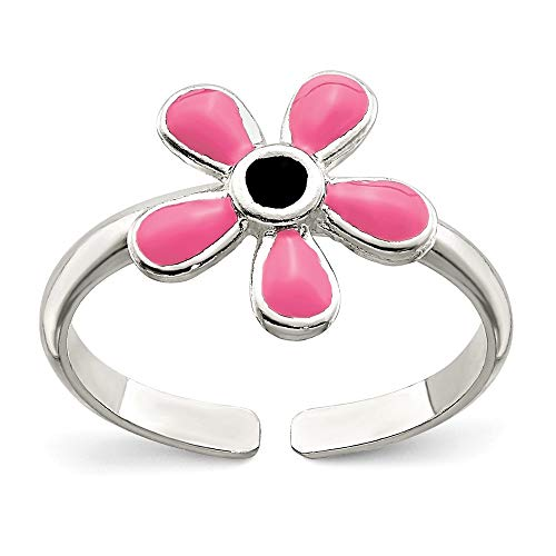 925 Sterling Silver Pink Enameled Floral Adjustable Cute Toe Ring Set Fine Jewelry Gifts For Women For Her ()