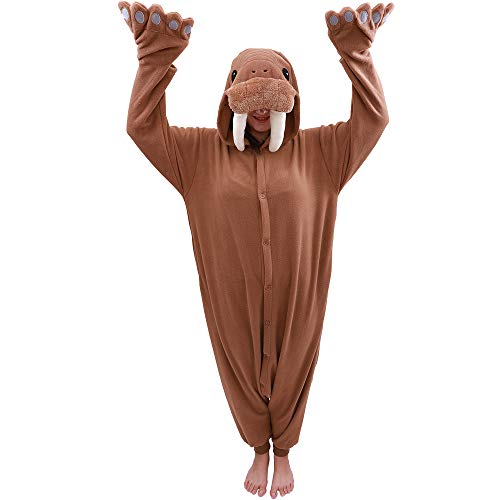 Adult Walrus Onesie Pajamas Animal One Piece Cospaly Costume (Small, Brown) ()