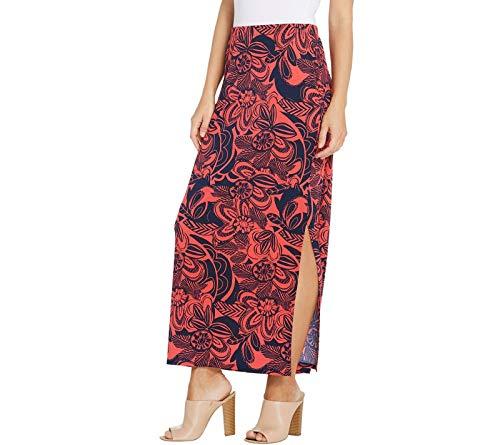 - Susan Graver Regular Printed Liquid Knit Maxi Skirt. A303347 Navy/Coral M