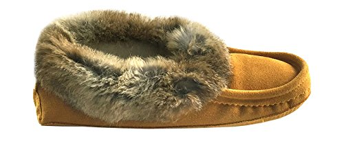 Laurentian Chief Mens Suede with Rabbit Fur Collar Soft Sole Moccasin Slippers