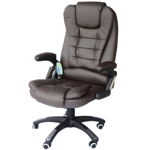 HomCom PU Leather High Back Executive Heated Massage Office Chair – Dark Brown
