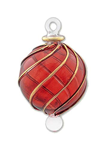 (Egyptian Museum Spiral Crystal Ball with Gold Accent Ornament - Christmas Red)