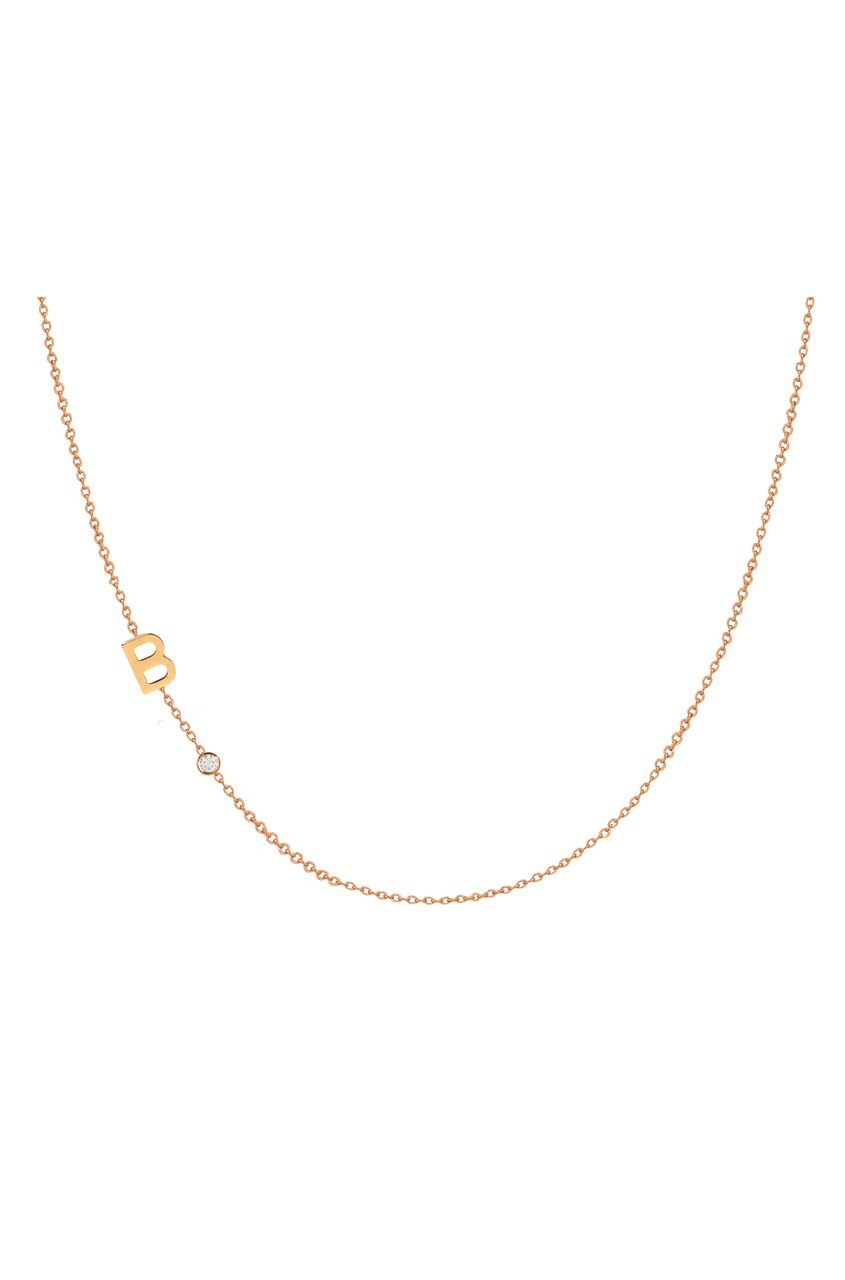 14k gold asymmetrical initial and bezel diamond necklace by Zoe Lev Jewelry