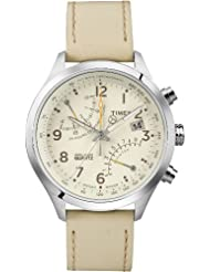 Timex Mens T2P382 Intelligent Stainless Steel Watch with Beige Leather Band