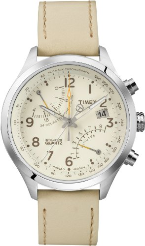 (Timex Men's T2P382 Intelligent Stainless Steel Watch with Beige Leather Band)