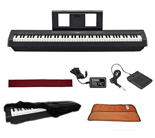 Yamaha P45B Black 88 Weighted Keys Digital Piano keyboard Bundle with Juliet Music Piano Dust Cover, Key Cover, Polish Cloth and Manuscript Book