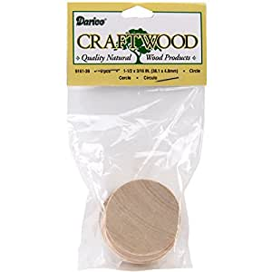Darice 9161-39 Unfinished Natural Wood Craft Round Circle Cutout, 6-Pack