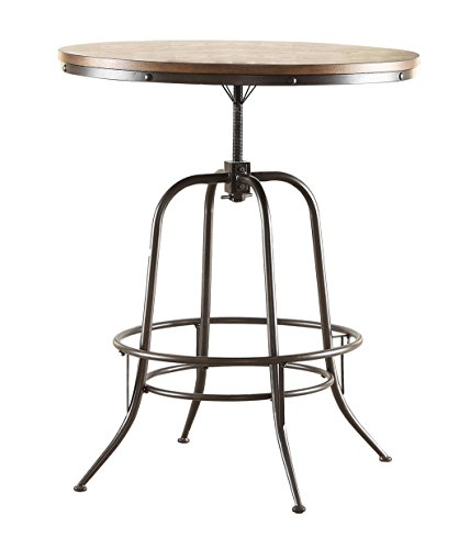 Homelegance Angstrom Rustic Wood and Metal Adjustable Height Round Dining Table, Walnut