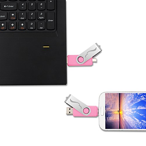 Techkey OTG USB Flash Drive for Cell Phones,Tablets and PCs,Key Chain Included,Galaxy Series,32GB,Pink