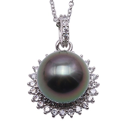 Round Sea South Pearl Green (JYX Pearl Necklace Pendant AAA Quality 11mm Round Black Tahitian Cultured Pearl Pendant Necklace for Women 18'')