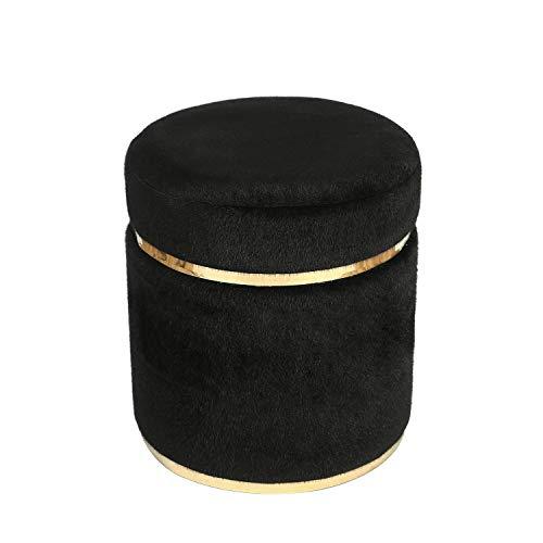 Joveco Round Ottoman Short Plush Foot Stool Black