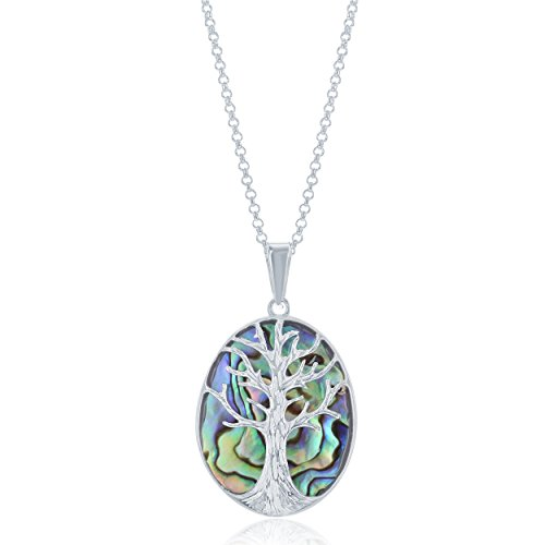 Sterling Silver Natural Turquoise, Abalone, Lapis, Mother-of-Pearl Stone Tree of Life Oval Pendant with 18 Thick Chain
