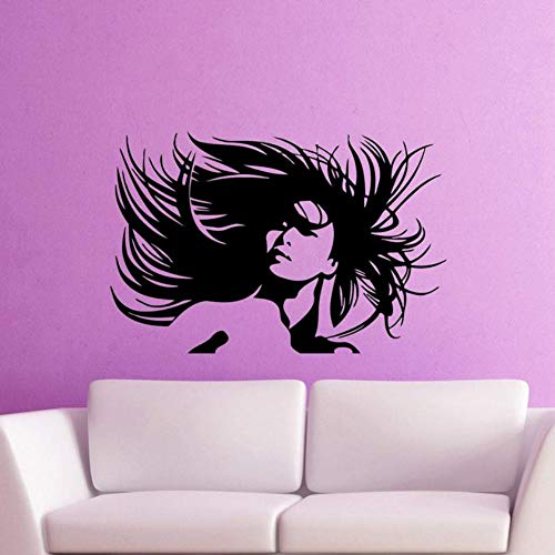 (Dalxsh Barber Shop Vinyl Decal Beautiful Woman Portrait Crazy Hair Salon Wall Sticker Hair Hairstyle Removable Art Mural)