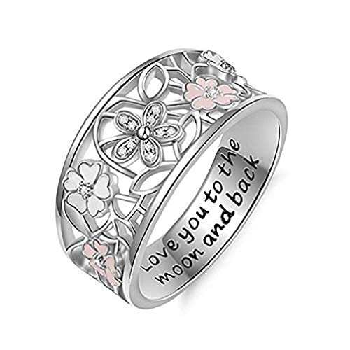 (Noopvan 1 Pcs Cherry Blossom Diamond Ring Fashion Elegant Letter Love You to The Moon and Back Crystal Ring Wedding Jewelry for Women (8) )