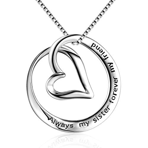 Kokoma Engraved Always My Sister Forever My Friend Love Heart Sterling Silver Pendant Necklaces for Her Dainty Fashion Chain -