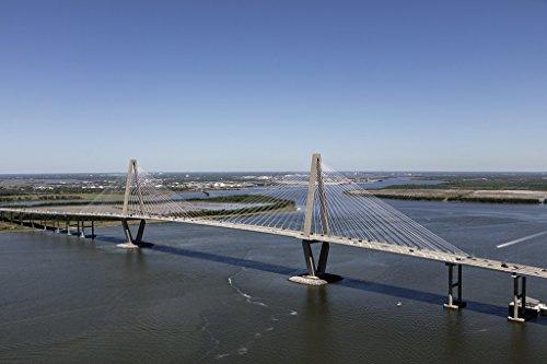 otograph| Aerial view of the Arthur Ravenel Jr. Bridge, a cable-stayed bridge over the Cooper River in Charleston, South Carolina 1 Fine Art Photo Reproduction 12in x 08in (Cooper River Bridge)