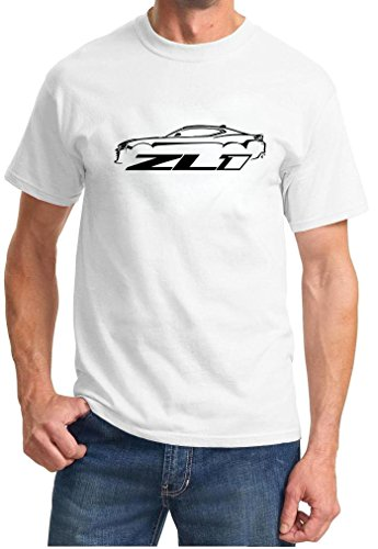 - 2016-18 Camaro ZL1 Classic Car Outline Design Tshirt large white