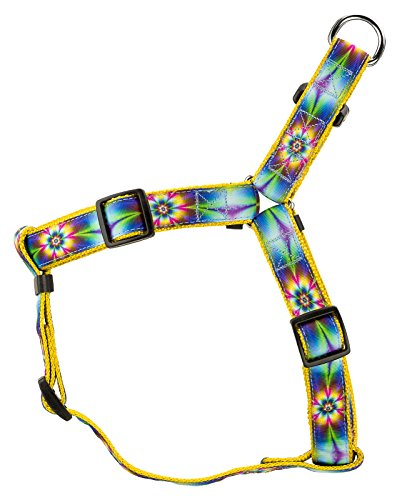 Ribbon Dog Harness - Country Brook Design Tie Dye Flowers Ribbon Step-in Dog Harness - Small