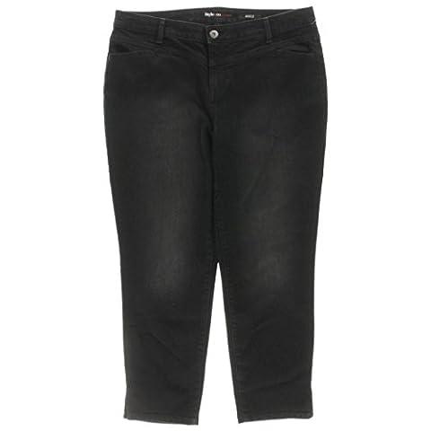 Style & Co. Womens Plus Ankle Split-Hem Jeans Black 18W - Co Black Denim