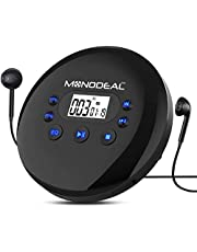 Portable CD Player, MONODEAL Rechargeable Personal Compact Disc CD Player with Headphones, Anti-Skip Small Walkman Music CD Player for Cars Adults Kids Students (with Larger LCD Display)