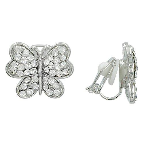 (Dainty Rhinestone Silver Tone Fancy Formal Prom Clip On Earrings (Round wing Butterfly))