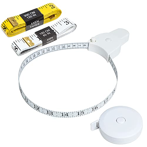 AXEN 4 Pack Measuring Tape Set, Soft Measuring Tape and Retractable Tape Body Tailor Sewing Craft Cloth Dieting Measuring Tape for Sewing Tailor Fabric Body Measurements, White