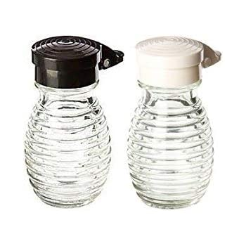 Moisture Proof Beehive Salt And Pepper Shakers   Black And White Hinged Flip Top   No Spill   No Clog   2 OZ Set Of 2