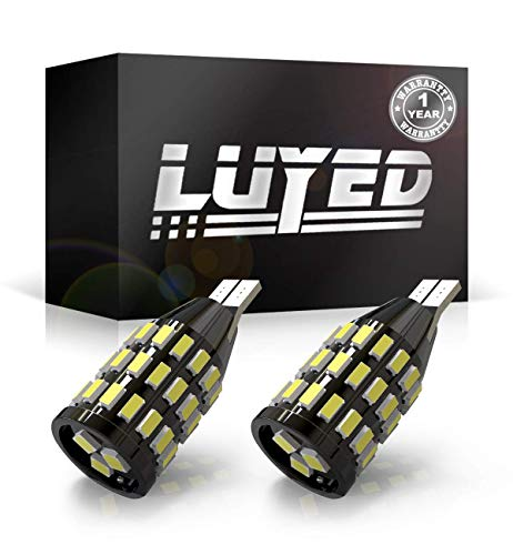 LUYED 2 Extremely Bright 1000 Lumens Backup Reverse Lights 921 912 W 16W 4014&3030 48-EX Chipsets, Xenon White