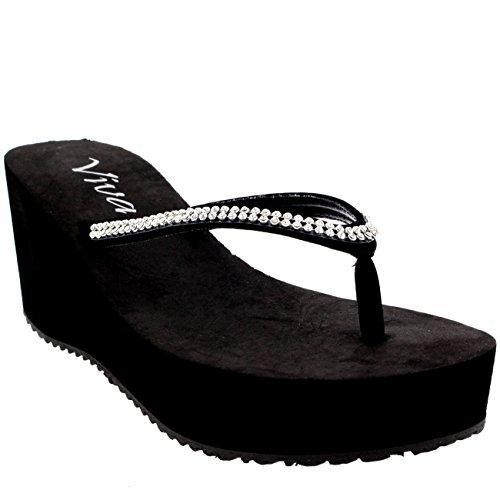 Womens Thong Strap Diamond Flip Flops Heel Platform Summer Wedge Sandals Black