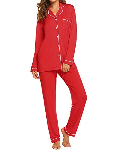 Ekouaer Christmas Pajama Set Women's Long Sleeve Sleepwear Soft 2 Piece Pjs (Red,S)