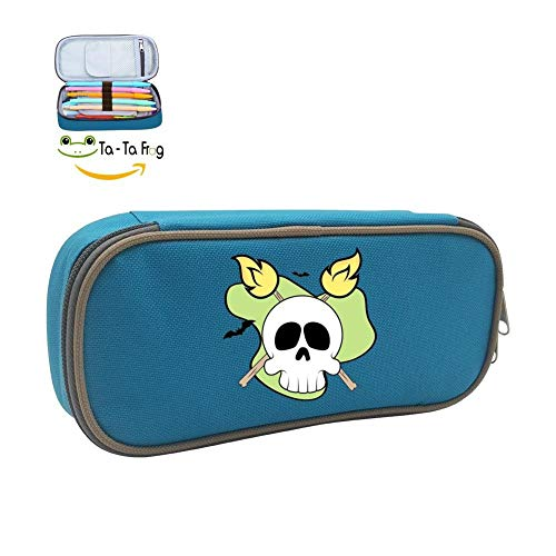 Halloween Skull Big Capacity Pen Bag Makeup Pouch Durable Students Stationery with Double Zipper