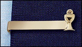 Boys Gold First Communion Tie Clip with Chalice Charm.