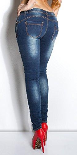 Skinny mit bunten Glitzersteinen, blau