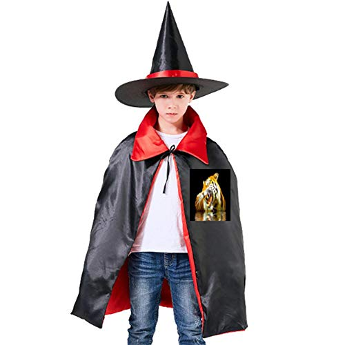 Tiger in Water Halloween Shawl and Witch Hat for Children Kids Red -