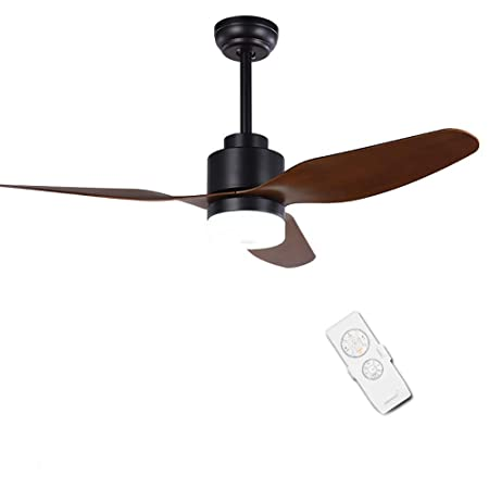 Black Ceiling Fan With Light and Remote, 47 Ceiling Fans 3 Light Ceiling Fan 3 Kinds of Speed LED Lights Contemporary Ceiling Light