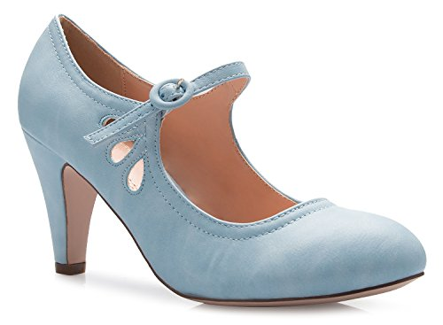 ten Heels Mary Jane Pumps - Adorable Vintage Shoes- Unique Round Toe Design With An Adjustable Strap,Serenity Blue,10 B(M) US ()