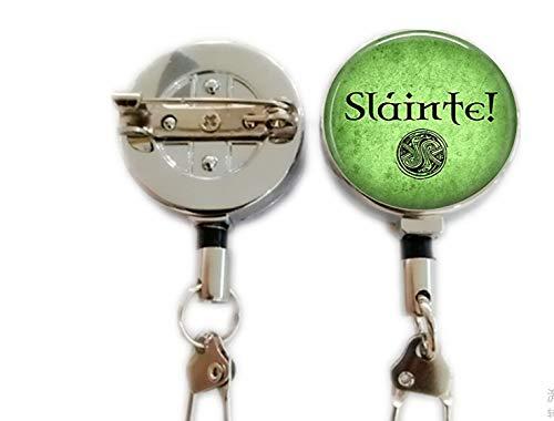 Slainte! Irish Drinking Toast - Celtic Pendant Necklace - Celtic Jewelry - Slainte Jewelry,Retractable Badge Holder Carabiner Reel Clip On ID Card Holders