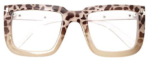 Big Square Horn Rim Eyeglasses Nerd Spectacles Clear Lens Classic Geek Glasses (BEIGE LEOPARD 2016, ()