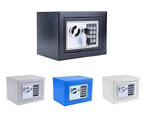 Benlet Solid Steel Security Digital Electronic Safe Box with Deadbolt Lock Wall-Anchoring Design for Jewelry, Gun, Cash Valuable, 9.05'' x 6.69'' x6.69''(US Stock) (Blue)