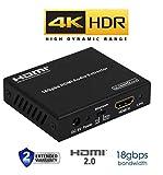4K HDR HDMI 2.0 Audio Extractor 18GBPS 60hz YUV 444 Digital SPDIF Toslink Analog 3.5mm Headphone Jack Output HDCP2.2 Dolby Digital CEC