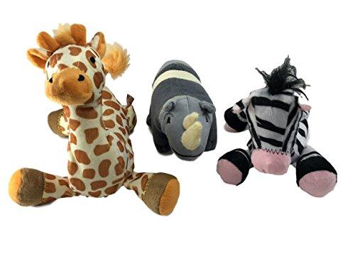 Animal Planet Safari Animals Plush Pet Squeak Toys Set of 3 Giraffe Rhino Zebra