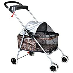 "Taltintoo20 Pet Stroller Dogs Cats w/Cup Holder, Limit 15LB Height Adjustable 33"" - 35"", Colors Leopard Skin"