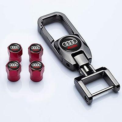 HEY KAULOR 5 Pcs Metal Car Wheel Tire Valve Stem Caps for Audi S Line S3 S4 S5 S6 S7 S8 A1 A3 RS3 A4 A5 A6 A7 RS7 A8 Q3 Q5 Q7 R8 TTWith Key Chain Logo: Automotive