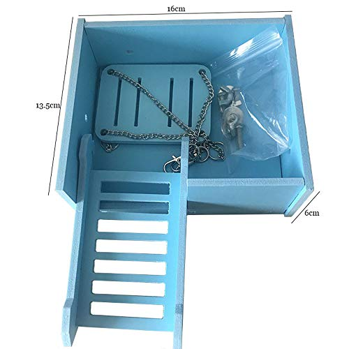 Image of Wooden Platform,Hamster Swing Ladder Set for Mouse, Chinchilla, Rat, Gerbil and Dwarf Hamster,Climbing Kits for Small Animals (Blue)