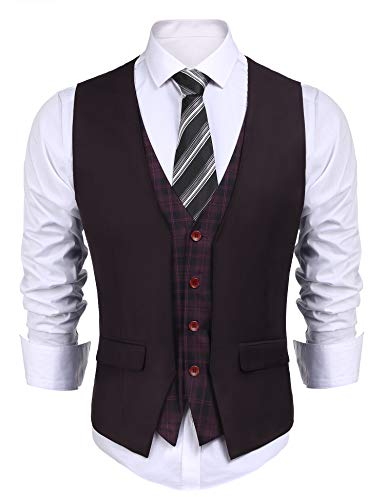 COOFANDY Mens Dress Suit layered Vest V Neck