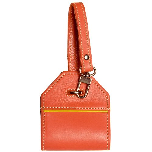 Luggage Tag Identity Protecting Security Folding Colorful Leather (Tangelo) - Alicia Klein