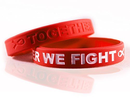 Cancer & Cause Awareness Bracelets with Saying Together WE Fight, Gift for Patients, Survivors, Family and Friends, Set of 2 Ribbon Silicone Rubber Wristbands for All (Heart Disease Red)