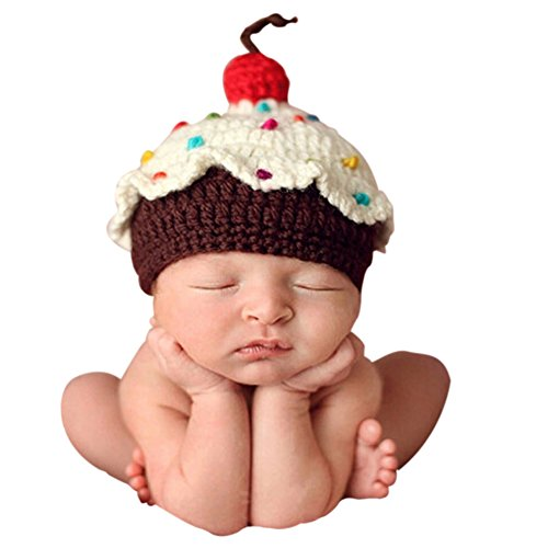 [Ownmagi Newborn Baby Crochet Knit Cupcake Beanie Hat Photography Prop Costume] (Ups Package Costume)