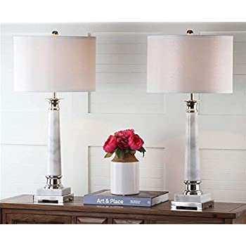Safavieh Lighting Collection Colleen White Marble Table Lamp (Set of 2), 31""
