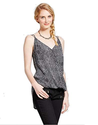 Mossimo Supply Co. Women's Woven Printed V-Neck Cami - Black and White - (L)